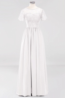 A-line  Lace Jewel Short-Sleeves Floor-length Bridesmaid Dress_1