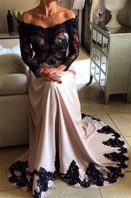 Charming Off-the-Shoulder Appliques Long Sleeves A-Line Prom Dress_1