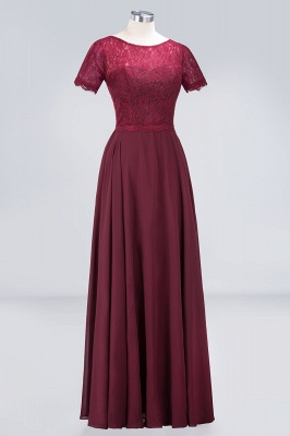 A-Line Round-Neck Short-Sleeves Floor-Length  Lace Bridesmaid Dress_3