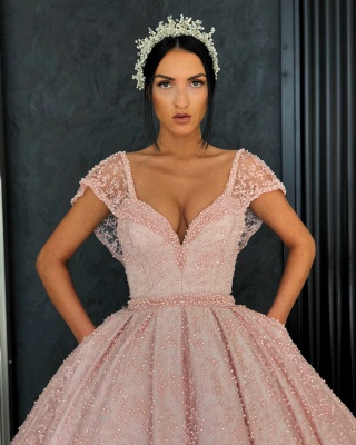 Stunning Cap Sleeves Beading Ball Gown Prom Dress_5