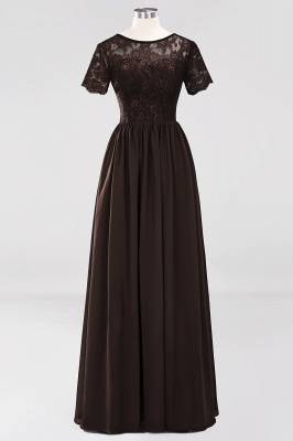 A-line  Lace Jewel Short-Sleeves Floor-length Bridesmaid Dress_11
