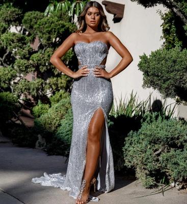Charming Sweetheart Sleeveless Mermaid Front Split Prom Dress_4