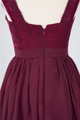A-Line V-Neck Sleeveless Knee-Length  Lace Bridesmaid Dress with Ruffles_5