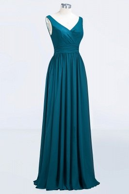Sleeveless Chiffon A-line Newest Straps Floor-length Bridesmaid Dress_7
