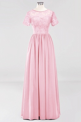 A-line  Lace Jewel Short-Sleeves Floor-length Bridesmaid Dress_4