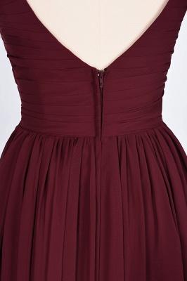 A-Line Straps V-Neck Sleeveless Backless Floor-Length  Bridesmaid Dress with Ruffles_8