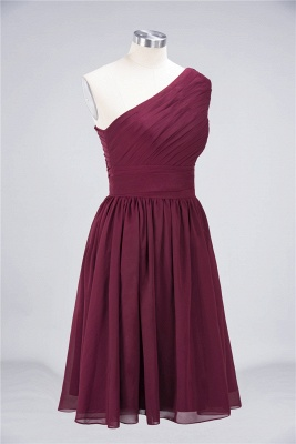 A-Line One-Shoulder Sleeveless Knee-Length  Bridesmaid Dress with Ruffles_4