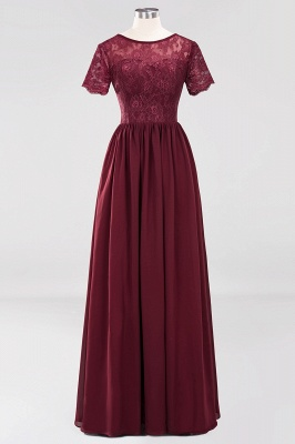 A-line  Lace Jewel Short-Sleeves Floor-length Bridesmaid Dress_10