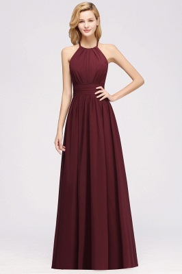 Simple A-Line Chiffon Bridesmaid Dresses | Halter Ruched Hollow Back Maid of The Honor Dresses_1