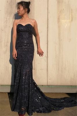 Elegant Sweetheart Appliques Sleeveless Black Mermaid Prom Dress_1