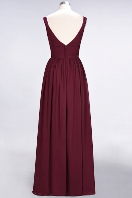A-Line Straps V-Neck Sleeveless Backless Floor-Length  Bridesmaid Dress with Ruffles_3