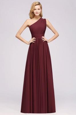 Elegant A-Line Burgundy One-Shoulder Sleeveless Ruffles Floor-Length  Bridesmaid Dresses_1