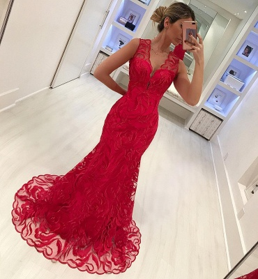 Stylish Straps Sleeveless Appliques V-Neck Mermaid Prom Dress_4