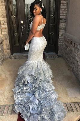 Unique Spaghetti Straps Sleeveless V-Neck Mermaid Prom Dress_1