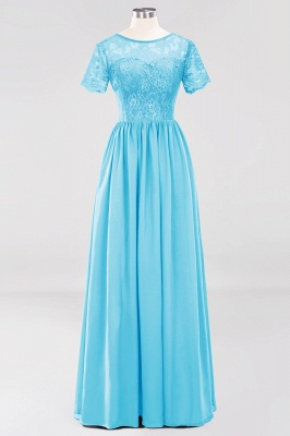 A-line  Lace Jewel Short-Sleeves Floor-length Bridesmaid Dress_23