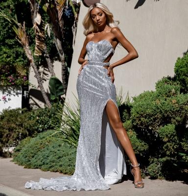 Charming Sweetheart Sleeveless Mermaid Front Split Prom Dress_1
