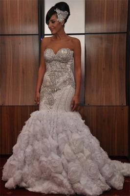 Unique Strapless Sleeveless Sequins Appliques Mermaid Prom Dress_1