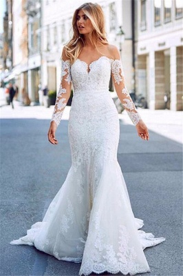 Charming Appliques Off-the-Shoulder Long Sleeves Mermaid Wedding Dress_1