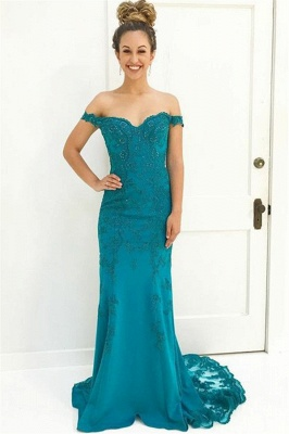 Charming Off-the-Shoulder Appliques Sleeveless Beading Floor-Length Prom Dress_1
