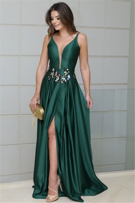 Sexy Deep V-Neck Spaghetti Straps Sleeveless Prom Dress_1