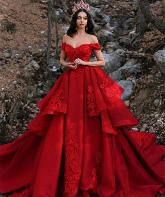 Charming Off-the-Shoulder Ball Gown Sleeveless Appliques Prom Dress_3