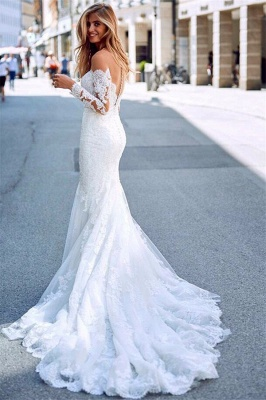Charming Appliques Off-the-Shoulder Long Sleeves Mermaid Wedding Dress_3