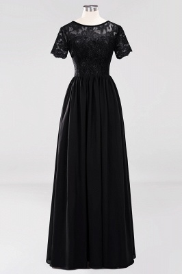 A-line  Lace Jewel Short-Sleeves Floor-length Bridesmaid Dress_28