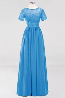 A-line  Lace Jewel Short-Sleeves Floor-length Bridesmaid Dress_24