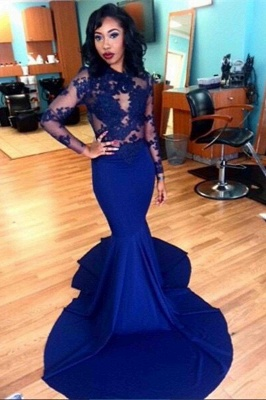 Royal-Blue Long Sheer Lace Long-Sleeves Mermaid Prom Dresses_2