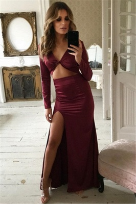 Charming Long Sleeves V-Neck Front Slipt Sheath Prom Dress_1