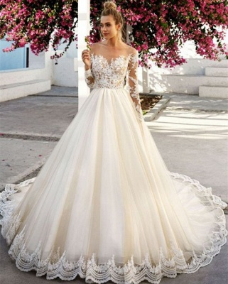 Stunning Off-the-Shoulder A-Line Long Sleeves Appliques Wedding Dress BC0756_3