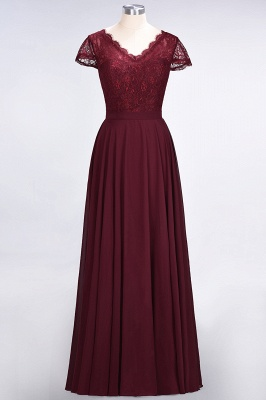 A-Line V-Neck Cap-Sleeves Floor-Length  Lace Bridesmaid Dress_1