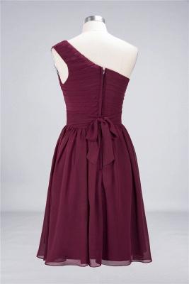 A-Line One-Shoulder Sleeveless Knee-Length  Bridesmaid Dress with Ruffles_3