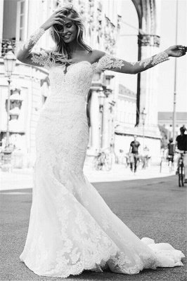 Charming Appliques Off-the-Shoulder Long Sleeves Mermaid Wedding Dress_4