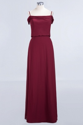 Long Off-the-Shoulder Elegant Burgundy A-Line Bridesmaid Dress_2
