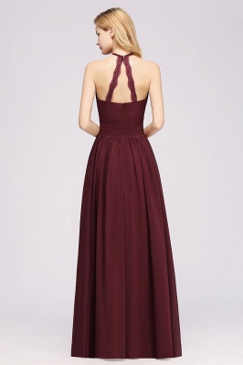 Simple A-Line Chiffon Bridesmaid Dresses | Halter Ruched Hollow Back Maid of The Honor Dresses_2