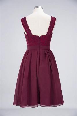 A-Line V-Neck Sleeveless Knee-Length  Lace Bridesmaid Dress with Ruffles_2