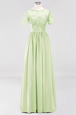 A-line  Lace Jewel Short-Sleeves Floor-length Bridesmaid Dress_33