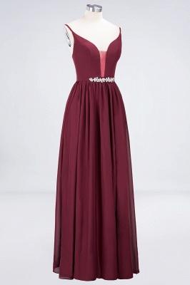 A-Line Spaghetti-Straps Deep-V-Neck Sleeveless Floor-Length  Appliques Bridesmaid Dress with Ruffles_3