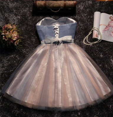 Stunning Strapless Sleeveless A-Line Bow Lace Prom Dress_3