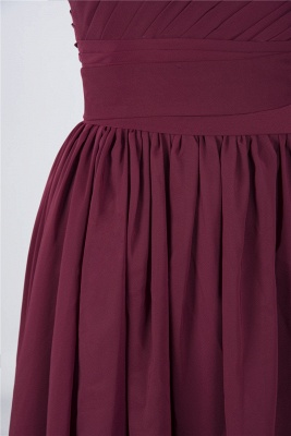 A-Line One-Shoulder Sleeveless Knee-Length  Bridesmaid Dress with Ruffles_6