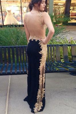Stylish Straps Sleeveless Appliques Sheath Black Prom Dress_2