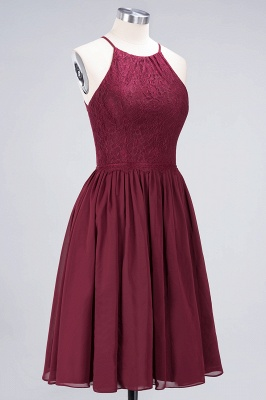 A-line  Lace Jewel Sleeveless Knee-Length Bridesmaid Dresses with Ruffles_3