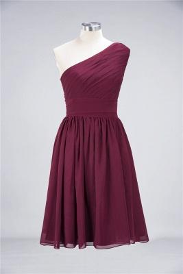 A-Line One-Shoulder Sleeveless Knee-Length  Bridesmaid Dress with Ruffles_2