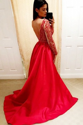 Sexy Deep V-Neck Long Sleeves Beading A-Line Prom Dress_2