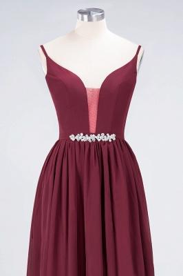 A-Line Spaghetti-Straps Deep-V-Neck Sleeveless Floor-Length  Appliques Bridesmaid Dress with Ruffles_4