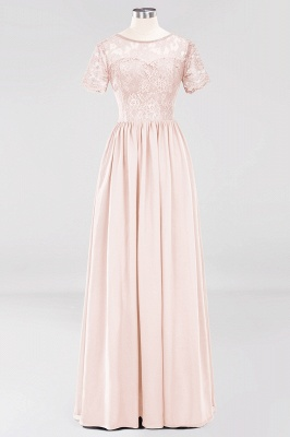 A-line  Lace Jewel Short-Sleeves Floor-length Bridesmaid Dress_5