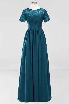 A-line  Lace Jewel Short-Sleeves Floor-length Bridesmaid Dress_26