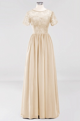 A-line  Lace Jewel Short-Sleeves Floor-length Bridesmaid Dress_14