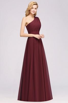 Elegant A-Line Burgundy One-Shoulder Sleeveless Ruffles Floor-Length  Bridesmaid Dresses_3